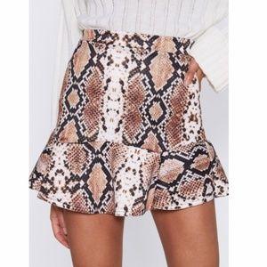NWOT - Snake Print Brown/Cream Mini Skirt